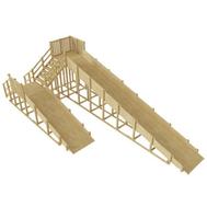 Деревянная зимняя горка - САМСОН АРКТИКА, 2 ската, лестница с поручнями, фото 1